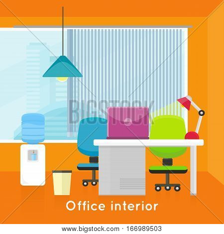 Office interior background. Modern office interior with desktop, laptop, lamp, office chair and water cooler in flat. Interior office room. Modern office room against the window. Office space.