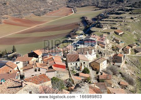 Aerial view of the village Peregrine in the province of guadalajara spain