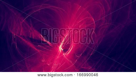 Abstract red and purple light and laser beams, fractals  and glowing shapes  multicolored art background texture for imagination, creativity and design.