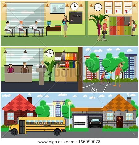 Vector set of school concept design elements in flat style. Classroom at school, university, college. Students, teachers, professor characters. Locker, school bus.