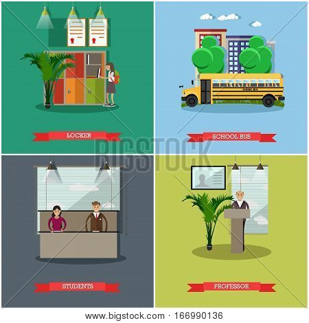 Vector set of school concept posters. Locker, school bus, students and professor design elements in flat style.