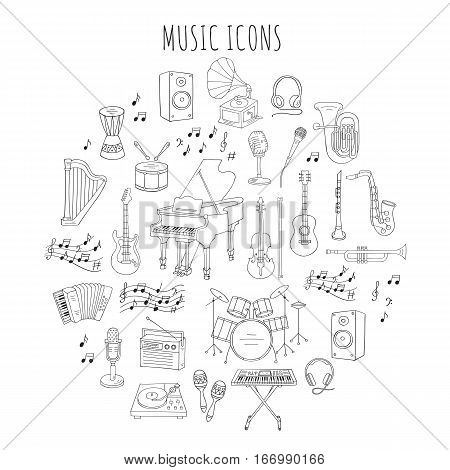 Music icon set vector illustrations hand drawn doodle. Musical instruments and symbols piano, guitar, synthesizer, drum set, gramophone, microphone, violin, trumpet, accordion, headphones
