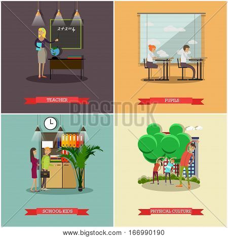 Vector set of school concept posters. Teacher, pupils, school kids and physical culture design elements in flat style.