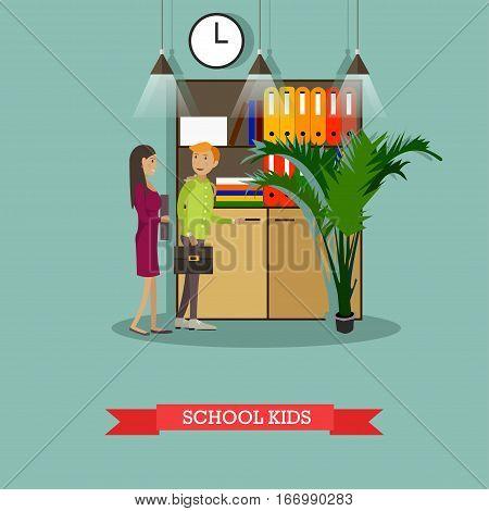 Vector illustration of school kids cartoon characters. School education concept design element in flat style.