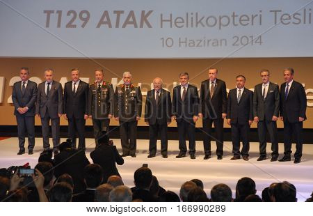ANKARA, TURKEY - JUNE 10 2014 : VIP Persons on the stage of Turkish Land Forces Aviation Command