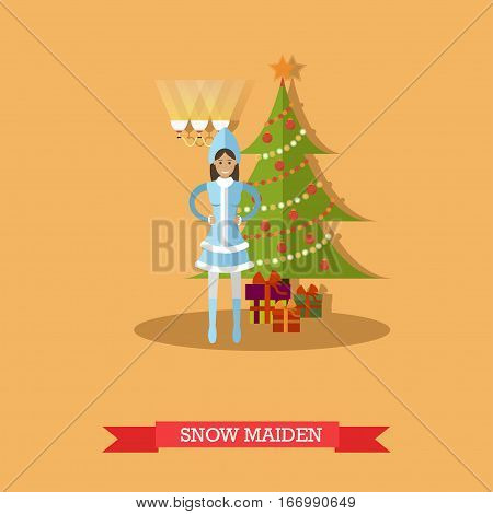Vector illustration of Snow Maiden standing near decorated New Year tree with gifts. Cartoon character. Happy New Year design element in flat style.