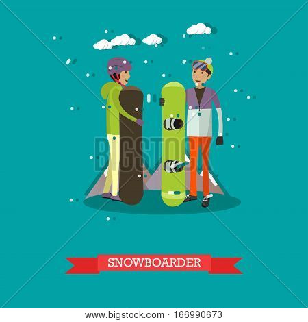 Vector illustration of boys with snowboards. Snowboarders, cartoon characters. Winter sports and recreation concept design element in flat style.