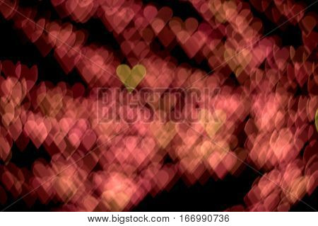 love hearts pink background bokeh effect Saint Valentine's Day