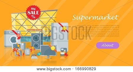 Big sale in electronics store concept. Group of different home technics with labels and price tags near shopping center flat vector illustration isolated. For holiday discount promotion