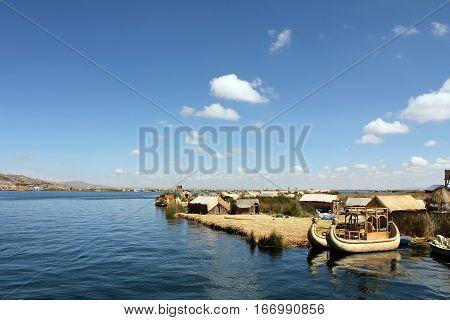 Peruvians on reed islands on Lake Titicaca in Peru, South America