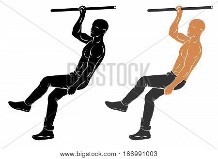 Vector illustration of man performing air walking