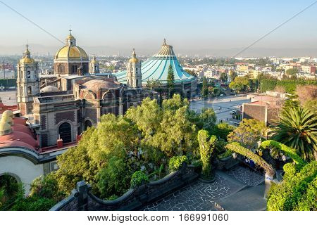 MEXICO CITY,MEXICO - DECEMBER 27,2016 : View of the Basilica of Our Lady of Guadalupe from the Tepeyac Hill in Mexico City