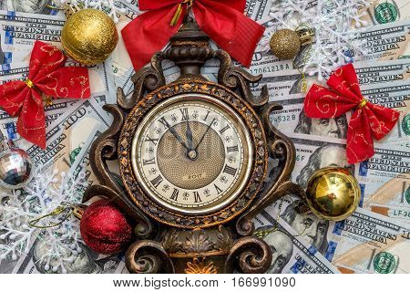 new year concept. 2017 - old clock, money