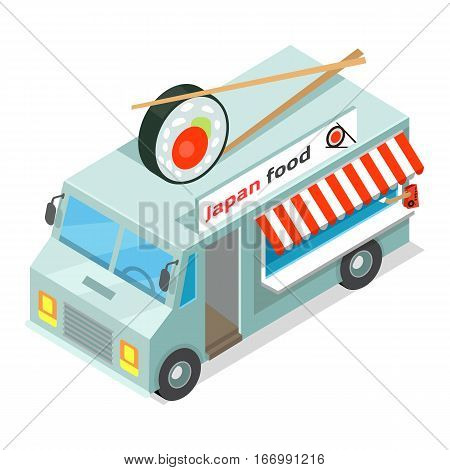 Japan food eatery on wheels icon. Car van with sushi in chopsticks on roof isometric vector isolated on white background. 3d mobile cafe with bright signboard. For restaurant, cafe, snack bar ad, app