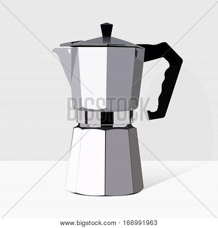Traditional Italian style coffee maker. Vector realistic moka pot icon. Retro espresso machine symbol design. Vintage object 3d illustration