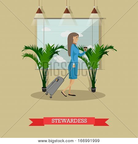 Vector illustration of stewardess with baggage. Airline staff concept design element in flat style.