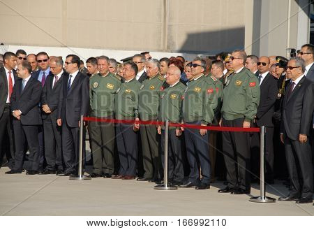ANKARA, TURKEY - JUNE 10, 2014: VIP Persons on the apron of Turkish Land Forces Aviation Command
