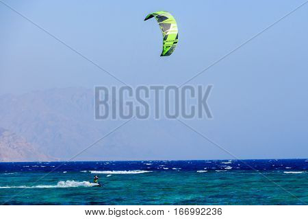 Sportsmen on the kite. Kite surfing in Dahab.