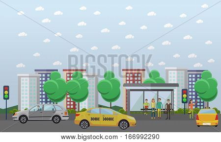 Street traffic concept vector illustration in flat design. Automobiles going across the main street. People waiting for city bus at the bus stop. Woman hailing a taxi.