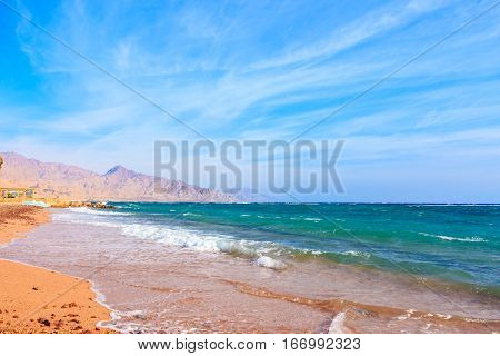 Shore of the red sea. The beach in Dahab.