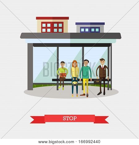 Vector illustration of bus stop and people waiting for city bus. Street traffic concept design element in flat style.