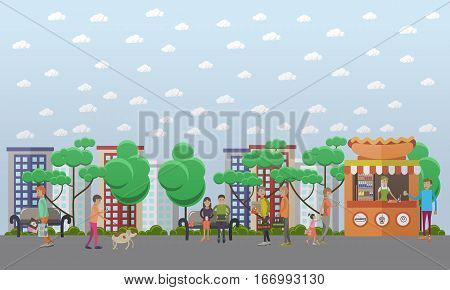 Vector illustration of people walking in the street and making use of various gadgets. Modern gadgets for daily life concept design element in flat style.