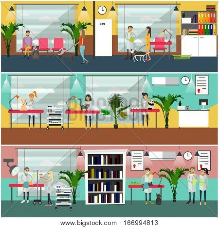 Vector set of veterinary care concept posters, banners. Medical staff, clients with their pets, interior design elements in flat style.