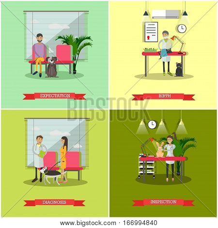 Vector set of veterinary clinic services concept posters, banners. Expectation, Birth, Diagnosis and Inspection design elements in flat style.