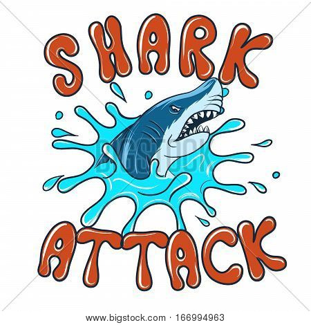 Shark attack danger beach label vector illustration. Cartoon undersea predator