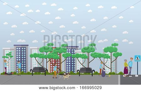 Vector illustration of volunteers helping local communities to plant trees, walk dogs, collect garbage, help the elderly in street. Voluntary organizations services concept, flat style design
