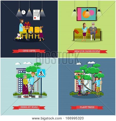 Vector set of voluntary organization services concept posters, banners. Give gifts, Help for older people, Zebra by road, Plant trees design elements in flat style.