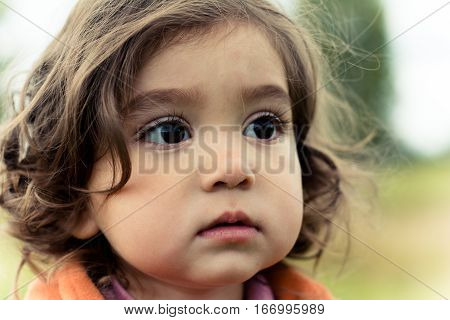 Portrait of a girl 2-3 years. Face close-up.
