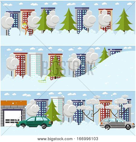 Vector set of winter cityscape concept design elements in flat style. Winter cityscape. Snowy streets, buildings, trees, cars.