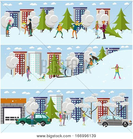 Vector set of winter people activities concept design elements in flat style. Characters sledding, playing snowballs, making snowman and snow angel, clearing car from snow, shopping. Winter cityscape.