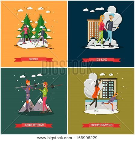 Vector set of winter sports and recreation concept posters, banners. Active people, cartoon characters. Skiing, Ice rink, Figure skating, Skier woman design elements in flat style.