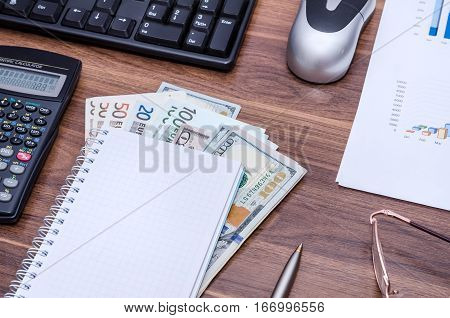 Business background view from above on a wooden table - empty notebook and pen dollar bills glasses calculator computer keyboard and mouse