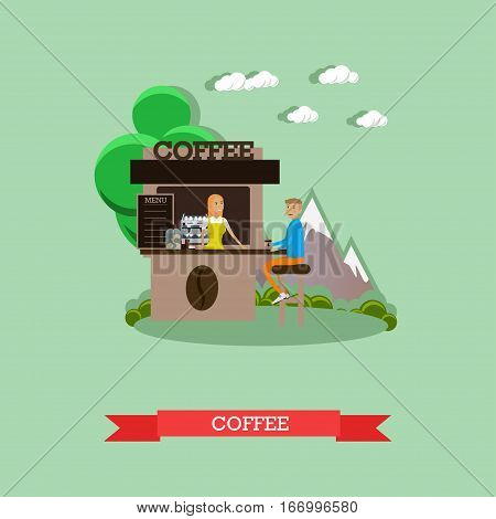 Street coffee concept vector illustration in flat style. Coffee shop, stall, kiosk, salesgirl and buyer with coffee.