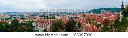 The view of the medieval city of Prague