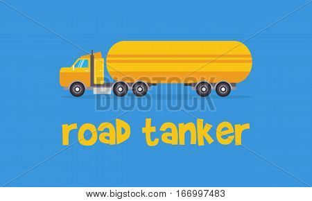 Yellow road tanker of vector art collection stock