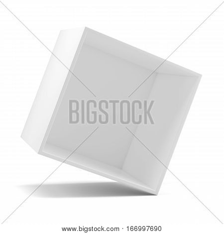 Rotated white empty clean shelf box, isolated on white. 3d rendering. Template shelf or showcase