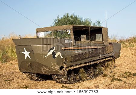 WESTERNHANGER, UK - JULY 18: A rare, preserved vintage WW2 Ferret troop carrier is placed on static display for the public to view at the War & Peace show on July 18, 2014 in Westernhanger