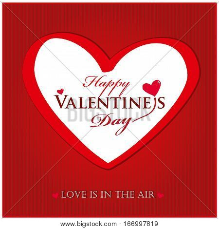Valentines day card with heart on bright red background. Vector Lettering design. I love you. Love is in the air.