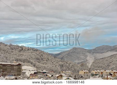 Sochi winter mountain ski resort landscape. Russia