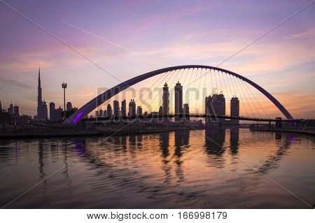 Dubai UAE January 27th 2017: bridge over Dubai waterway at sunrise