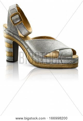 Collectable Miniature model silver platform heel shoes with reflection