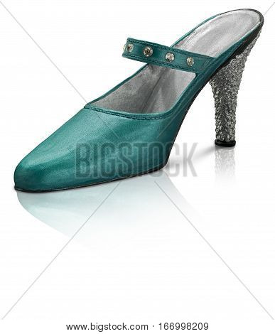 Collectable Miniature model turquoise stiletto shoes with reflection