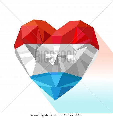 Vector crystal gem jewelry heart of the Grand Duchy of Luxembourg. Flat style logo symbol of love Luxembourg.