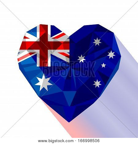 Vector crystal gem jewelry Australian heart with the Commonwealth of Australia. Flat style logo symbol of love Australia. National Day of Australia 26 January
