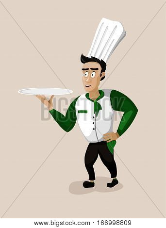 Men male person young cook chief-cooker chef cartoon happy smile serving go dish food silver tray portrait. Vector close-up vertical beautiful cute color illustration sign isolated background