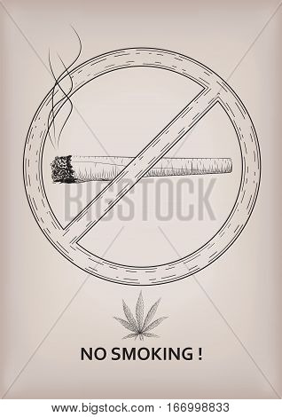 No smoking place sign signboard ban smoke cannabis marijuana weed leaf rolled cigarette smoking. Vector beautiful close-up side view sign black outline line design drawn illustration beige background